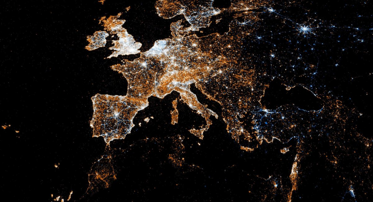 A picture of Europe at night, taken from space.